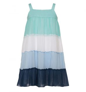 Girls Blue Tiered Dress
