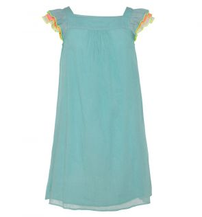 Girls Aqua Rainbow Flutter Dress