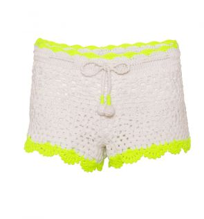 Girls White Crochet Shorts