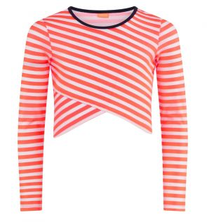 Youth Girls Orange Cockatoo Long Sleeve Crop Rash Vest