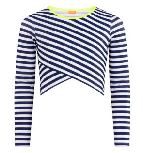 Teen Girls Navy Stripe Crop Rash Vest