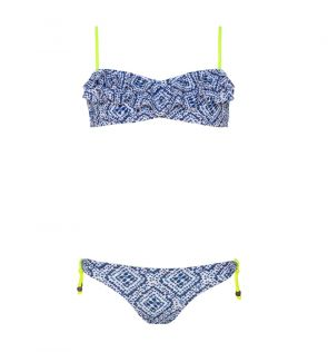 Youth Girls Blue Shibori Bandeau Frill Bikini