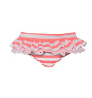 Baby Girls Pink Waffle Stripe Frill Nappy Pant