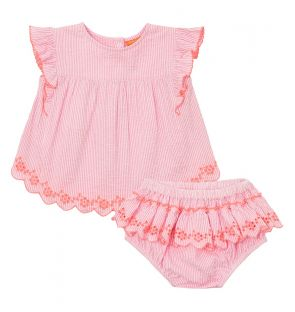 Baby Girls Pink Waffle Stripe Frill Romper Set