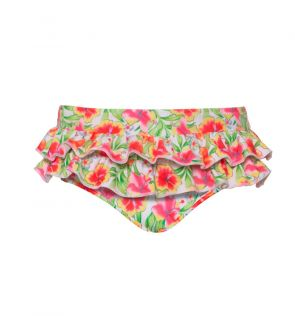 Baby Girls Orange Tropical Frill Nappy Pant