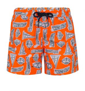 Boys Orange Leonardo Boats Swim Short