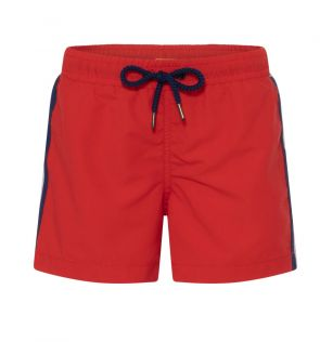 Boys Red Retro Stripe Swim Short