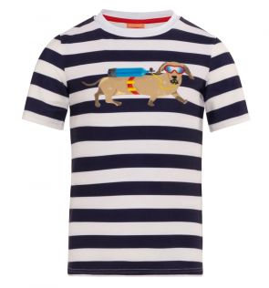 Boys Navy Sausage Dog Classic Short Sleeve Rash Vest