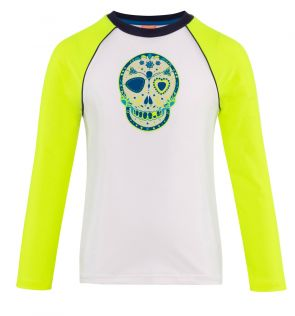Boys White Skulls Long Sleeve Raglan Rash Vest