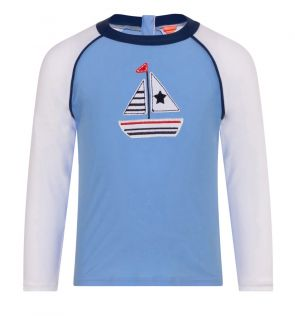 Baby Boys Blue Little Boats Long Sleeve Raglan Rash Vest