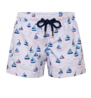 Boys White Little Boats Swim Short