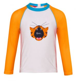 Baby Boys White Baby Tiger Long Sleeve Rash Vest