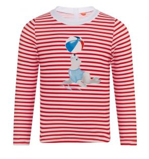 Baby Boys Red Sailor Seal Long Sleeve Rash Vest