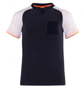 Teen Boys Navy Marl and White Short Sleeve Rash Vest