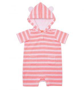 Baby Girls Pink Stripe Towelling Onesie