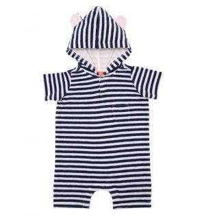 Baby Boys Navy Stripe Towelling Onesie