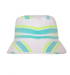 Girls Aqua Multistripe Canvas Hat
