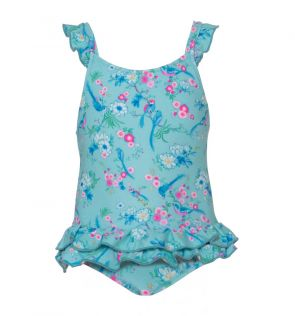 Baby Girls Aqua Birds of Paradise Frill Swimsuit