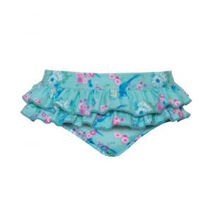 Baby Girls Aqua Birds of Paradise Frill Nappy Pant