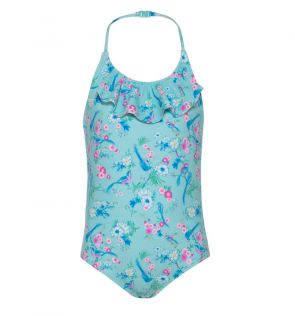 Girls Aqua Birds of Paradise Frill Swimsuit