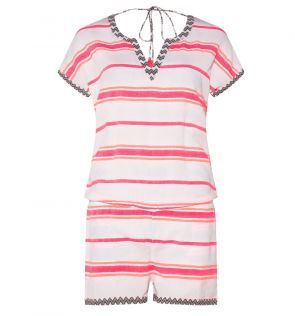 Womens Pink Multistripe Playsuit