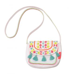 Girls White Zebra Fiesta Hippy Bag