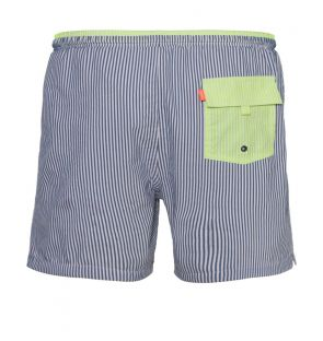 Mens Blue Stripe Seersucker Swim Shorts