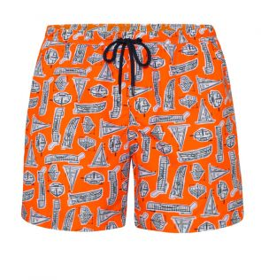 Mens Orange Leonardo Boats Swim Short