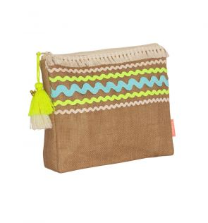 Girls Aqua Ric Rac Washbag