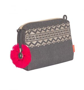 Womens Grey Tassel Washbag