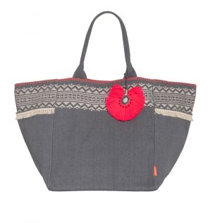 Womens Grey Tassel Beach Bag