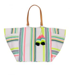 Womens Stripe Tassel Beach Bag