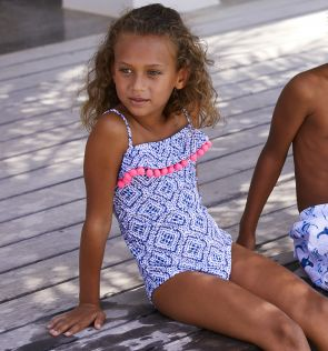 Girls Blue Shibori Pom Pom Frill Swimsuit