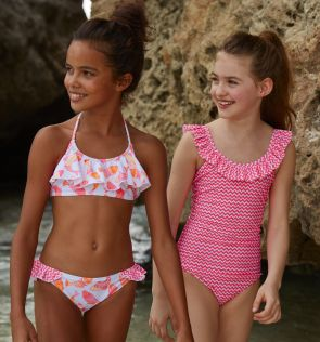 Girls Pink Zigzag Frill Scoop Swimsuit