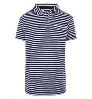 Boys Navy Stripe Towelling Polo Shirt