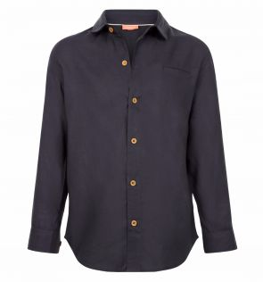 Boys Dark Grey Cotton Shirt