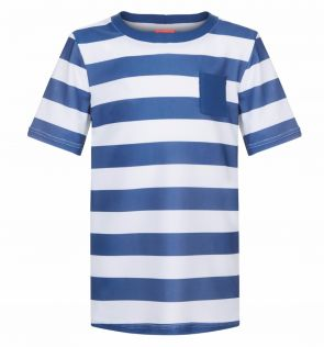 Boys Navy and White Stripe Short Sleeve Rash Vest