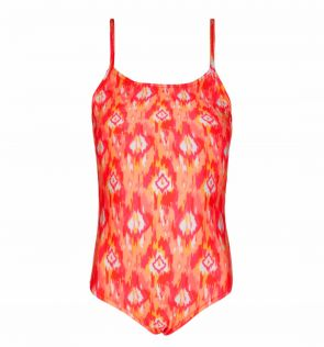 Girls Pink and Orange Neon Ikat Swimsuit