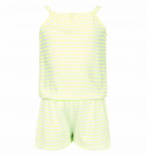 Girls Neon Yellow and White Jersey Playsuit