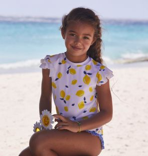 Girls White Sicilian Lemon Short Sleeve Rash Vest