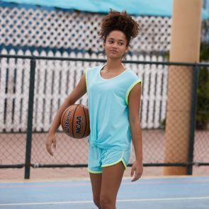 Teen Girl Aqua Pom Pom Trim Jersey Shorts Set