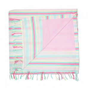 Girls Pink Stripe Beach Towel