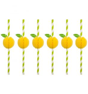Sunny Life Honeycomb Straws Lemon Set of 12