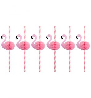 Sunny Life Honeycomb Straws Flamingo Set of 12