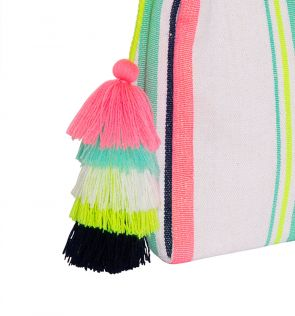 Womens Stripe Tassel Washbag