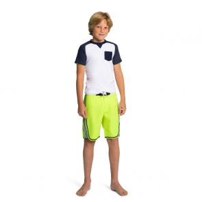 Teen Boys White & Navy Short Sleeve Rash Vest