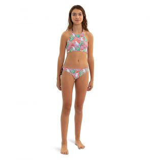Teen Girls Orange Cockatoo Halter Bikini