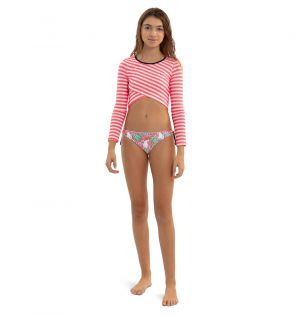 Girls Neon Coral Stripe Crop Rash Vest
