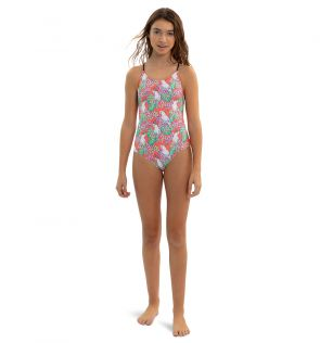 Teen Girls Orange Cockatoo Crisscross Swimsuit