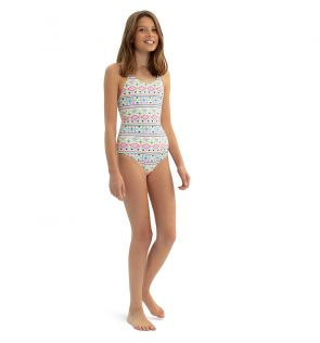 Teen Girls White Tribal Crisscross Swimsuit